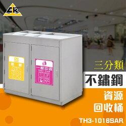 【西瓜籽】不鏽鋼三分類資源回收桶 TH3-1016SAR 資源回收箱 分類桶 回收桶 垃圾桶 紙簍 環保資源