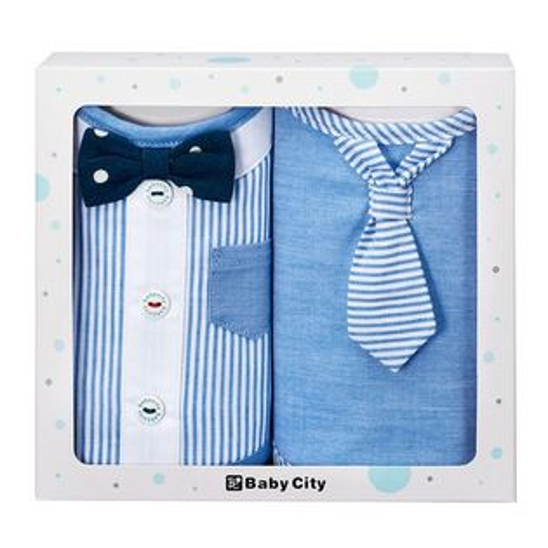 台灣【BabyCity】小紳士圍兜2入禮盒BB32181B