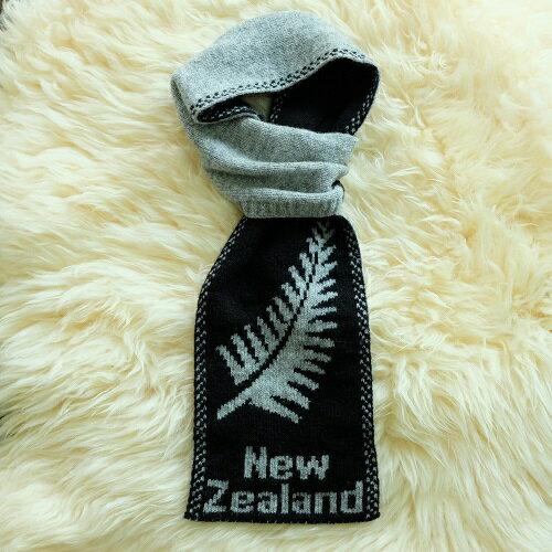紐西蘭100%純羊毛圍巾*紐西蘭蕨葉_ 灰色X黑色