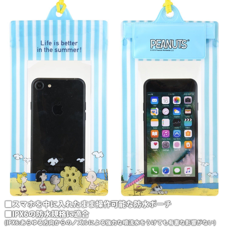 X射線【C889328】史努比Snoopy 手機防水套附頸繩(藍白條紋),美妝小物包 / 筆袋 / 面紙包 / 化妝包 / 零錢包 / 收納包 / 皮夾 / 手機袋 / 鑰匙包 1