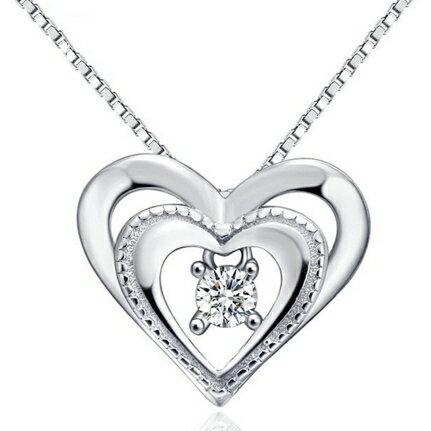 ~925純銀項鍊 鑲鑽吊墜~雙心氣質真愛母親節生日情人節 女 73v129~ ~~米蘭 ~