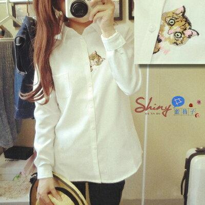 【T20257】shiny藍格子-清新自然.貓咪刺繡翻領雪紡休閒長袖襯衫