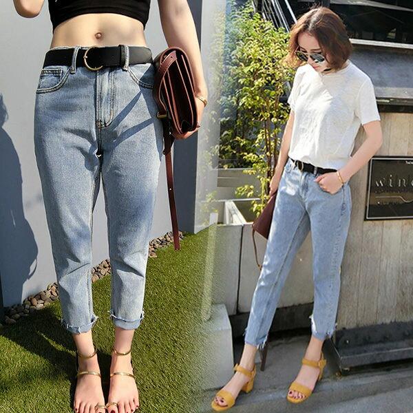 PS Mall 復古色寬鬆顯瘦高腰九分牛仔褲【T005】