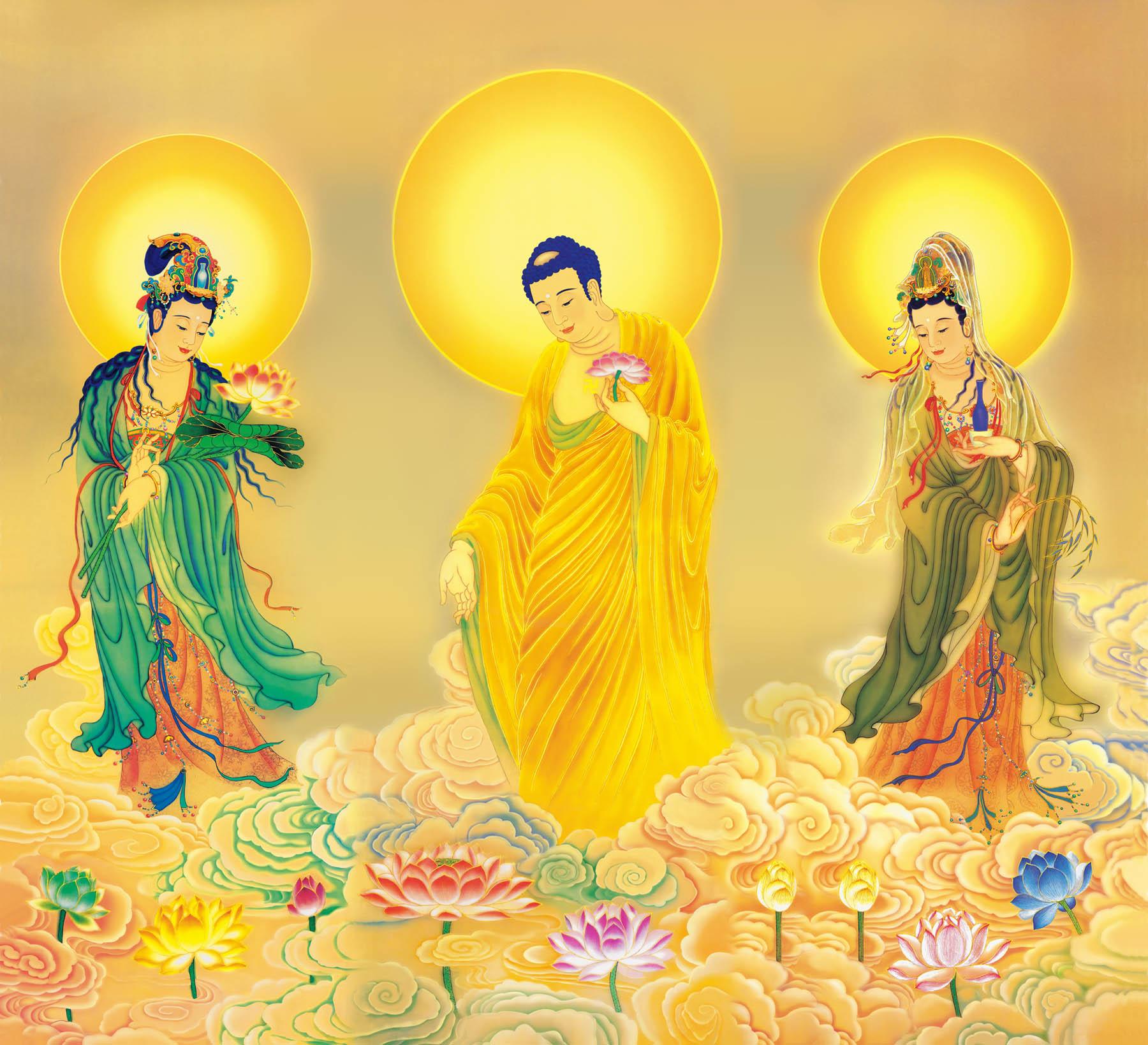 佛像掛畫 自在堂結緣佛像南無西方三聖(高清連幅)佛像畫像--絹絲掛畫『SS4105』