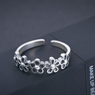 ~925純銀戒指銀飾~簡約復古梅花 母親節生日情人節 女飾品73dx37~ ~~米蘭 ~