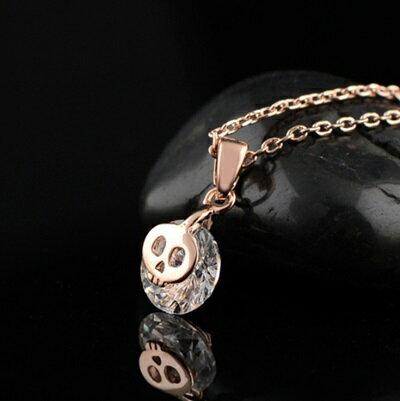 玫瑰金項鍊 鑲鑽純銀吊墜~ 簡約酷炫骷髏頭情人節生日 女飾品73dw180~ ~~米蘭 ~