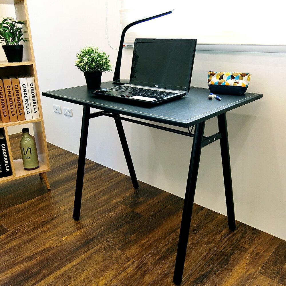 電腦桌/辦公桌/書桌【DCA010】環保粗管90公分仿馬鞍A型大桌面工作桌 Amos 台灣製造