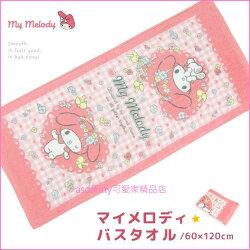 asdfkitty可愛家☆美樂蒂粉紅色格子浴巾-60*120公分-日本正版商品