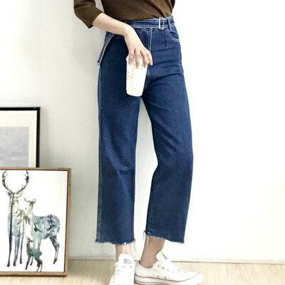 牛仔褲闊腿九分褲-微復古高腰明線毛邊女褲子73tq18【獨家進口】【米蘭精品】