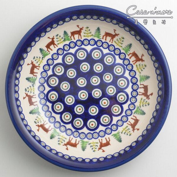 波蘭陶歡樂聖誕系列圓形深餐盤陶瓷盤菜盤水果盤圓盤深盤22cm波蘭手工製