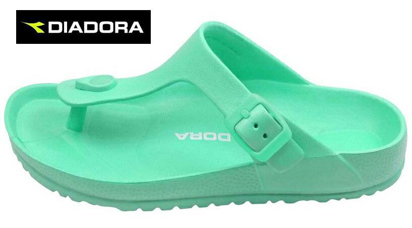 【巷子屋】義大利國寶鞋-DIADORA迪亞多納 女款漾彩時尚勃肯超輕T字拖鞋 [3525] 綠 超值價$198