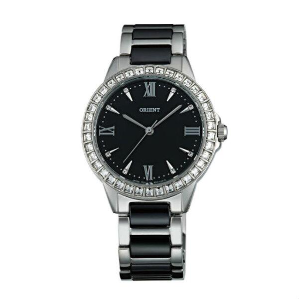 ORIENT東方錶DRESS系列(FQC11003B)時尚晶鑽羅馬數字石英錶陶瓷鋼帶款黑色34mm