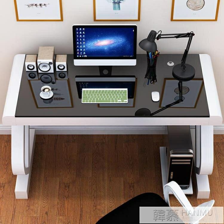 電腦桌台式家用帶鍵盤托辦公桌臥室簡約書桌鋼化玻璃寫字桌經濟型【全館免運 限時鉅惠】