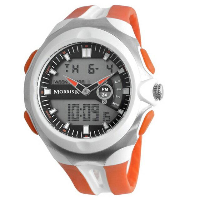 【Morris K】羅志祥代言 雙色雙顯錶 47mm大錶面 多功能 MK14089-WH