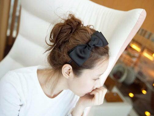 【櫻桃飾品】韓版緞面大蝴蝶結造型髮箍髮圈超商取貨貨到付款批發【20319】