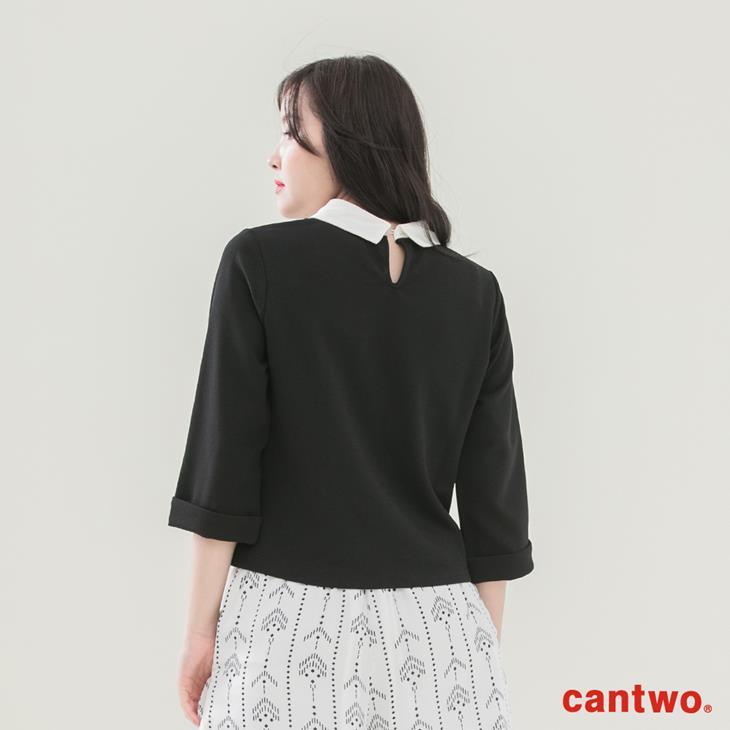 cantwo襯衫領假兩件五分袖上衣(共二色) 3