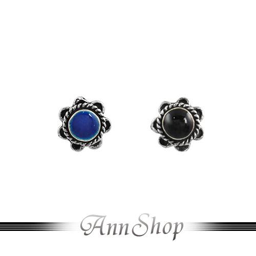 AnnShop~925純銀‧復古花朵藍琺瑯‧黑琺瑯耳飾~銀飾飾品  情人 e9825~e9