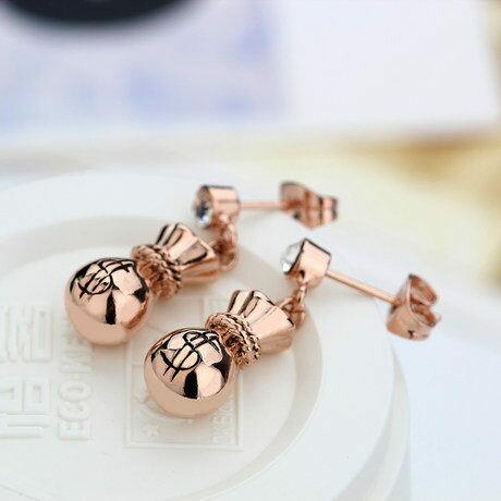 飾品 福氣錢袋玫瑰金彩金耳環