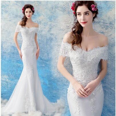 天使嫁衣:天使嫁衣【AE1866】一字領卡肩完美曲線小拖尾華麗白紗禮服˙預購訂製款