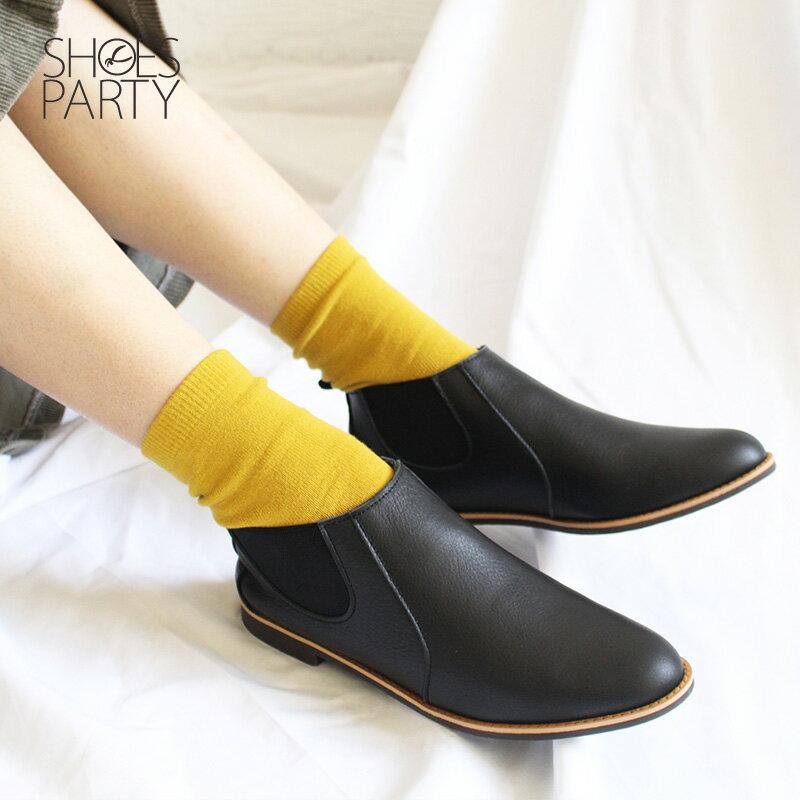 預購【F2-18107L】側鬆緊帶小尖頭真皮短靴-日本製 1