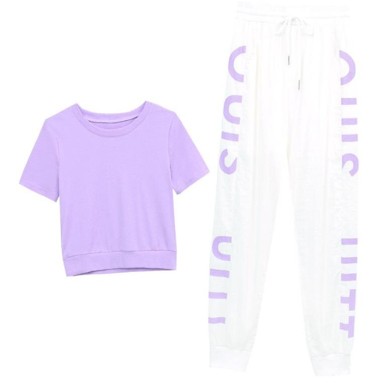 休閒運動裝 時尚運動服套裝女夏季2021年新款韓版洋氣顯瘦嘻哈休閑褲兩件套潮 果果輕時尚