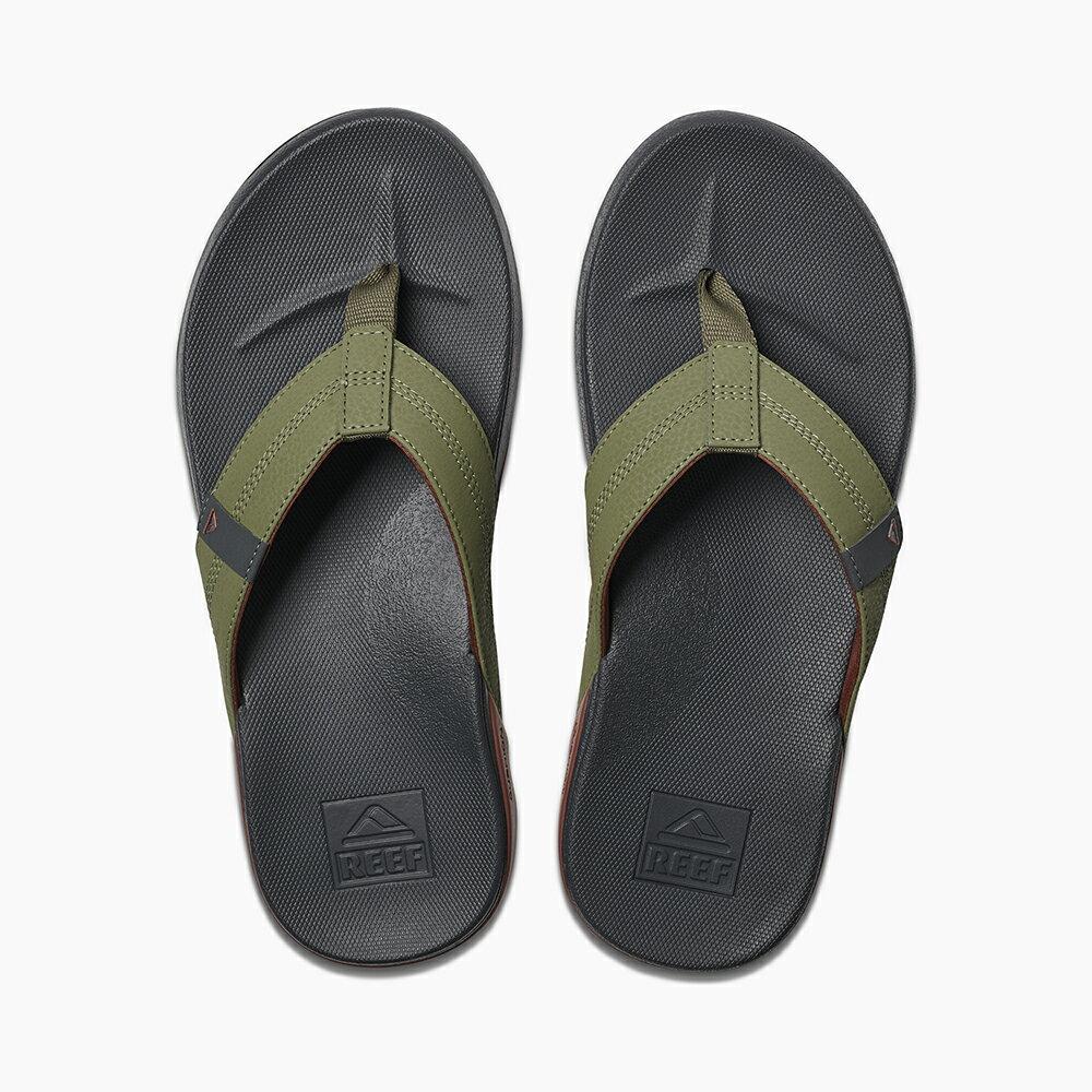 【新品上市】REEF 能量彈力 側邊縫製織帶 男款夾腳人字拖鞋 . 綠 / 紅 RF0A3FDIORE 3