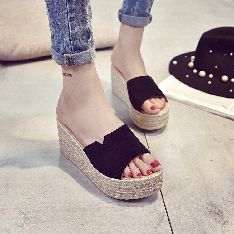 2017新款女鞋時尚魚口露趾厚底高跟楔型鞋防滑一字拖鞋涼鞋