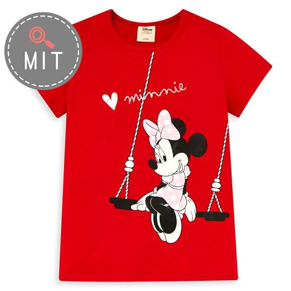 Disney米妮系列夏日樂遊圓領上衣-紅色