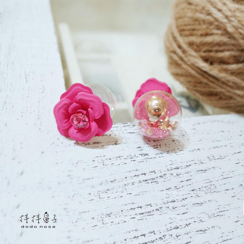 亮鑽玻璃球花朵耳環(3色) 3