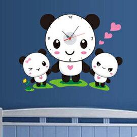 WallFree窩自在 韓版-新款DIY創意壁貼時鐘_SA-1-018_熊貓好朋友(附靜音機芯)