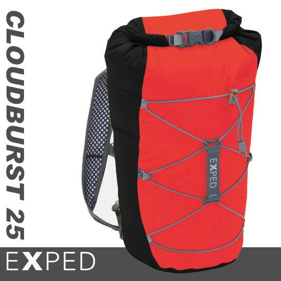 【鄉野情戶外專業】 Exped |瑞士| Cloudburst 25L 防水小背包 / 攻頂包 / 肩背式防水袋 黑/紅 Cloudburst25