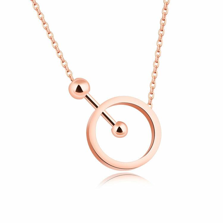 【5折超值價】情人節禮物時尚精美精緻幾何圓圈造型女款鈦鋼項鍊 - 限時優惠好康折扣