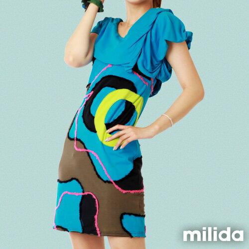 【Milida,全店七折免運】-夏季商品-V領款-氣質拼貼設計 3