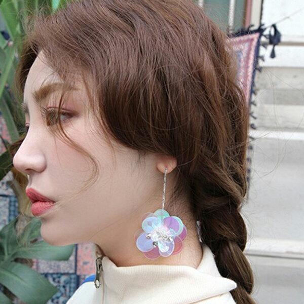 PS Mall 韓版925銀針立體亮片花朵鑲鑽貝殼花朵立體耳環【G089】 0