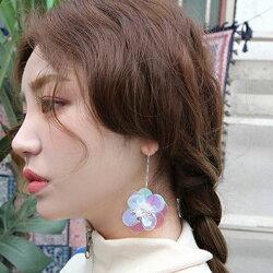 PS Mall 韓版925銀針立體亮片花朵鑲鑽貝殼花朵立體耳環【G089】