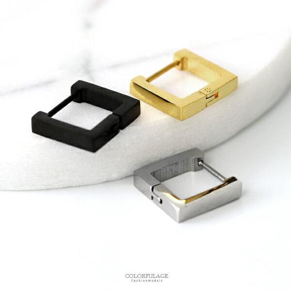 耳環幾何方型鋼製耳針柒彩年代【ND564】單支