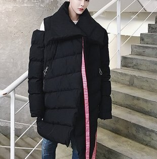 FINDSENSEG6韓國時尚不規則設計飄帶棉服男加厚保暖超寬麵包服中長款棉衣外套