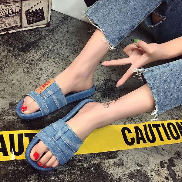 韓國復古風牛仔布涼鞋(2色)