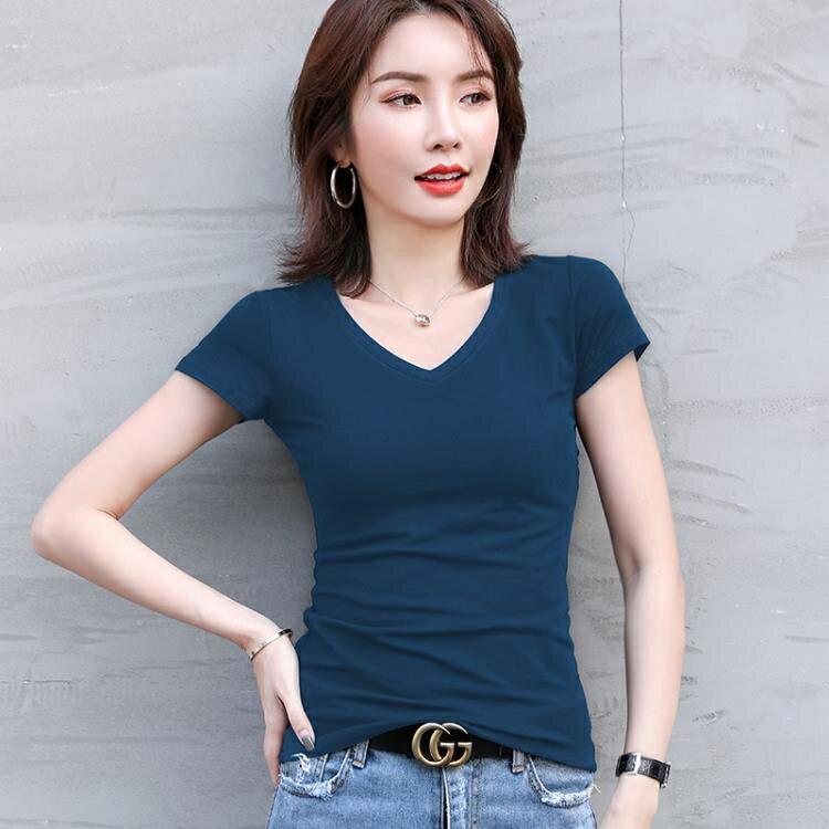 V領T恤 短袖t恤女裝潮純棉半袖正韓純色白色打底衫低領上衣夏季【顧家家】