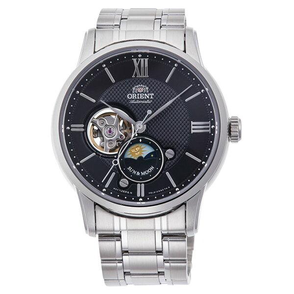 Orient東方錶(RA-AS0002B)SUN&MOON系列半露空日月相機械錶黑面42mm
