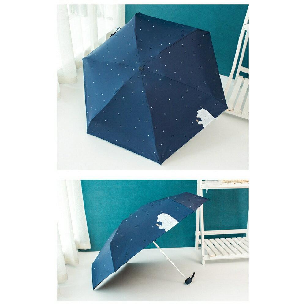 【現貨免等】可愛小熊迷你五折雨傘 折疊傘 黑膠塗層 抗紫外線【UBAAST24】 8