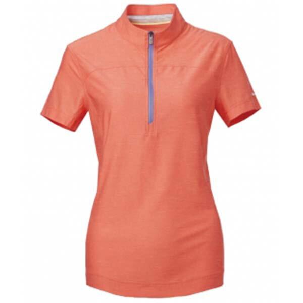 《台南悠活運動家》WILDLAND61621女拉鍊雙色吸濕排汗上衣蜜橘