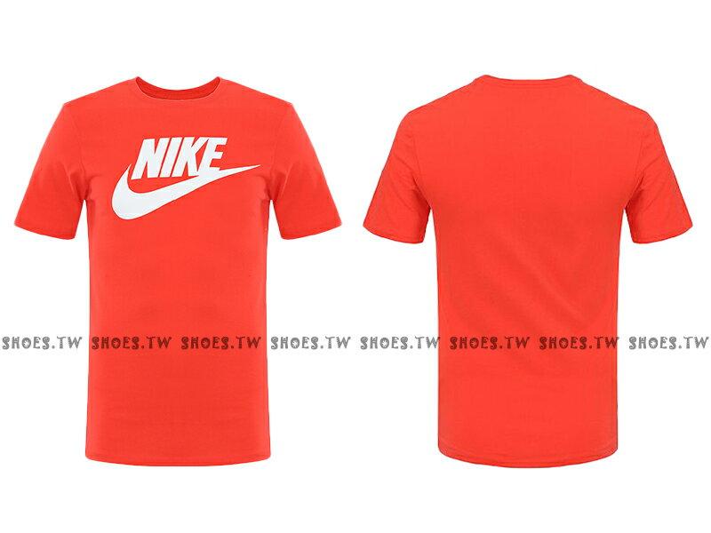 Shoestw【696708-852】NIKE TEE 短袖 T恤 紅色 白LOGO 純棉 男生