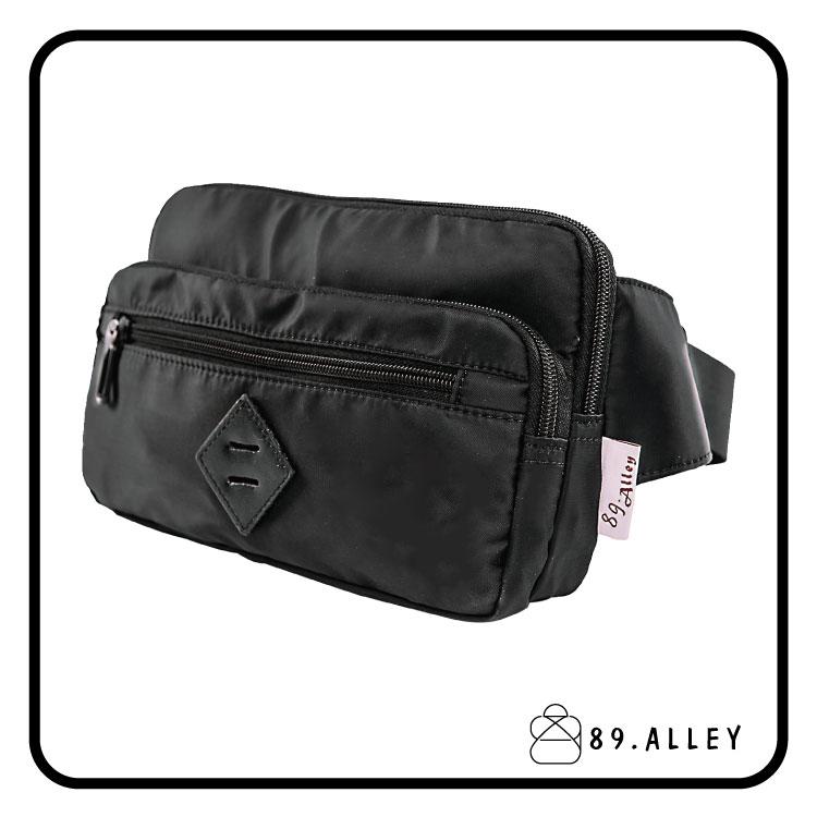 腰包 單肩包 女包男包 黑色系防水包 輕量尼龍雙層情侶防搶包 89.Alley ~  好康