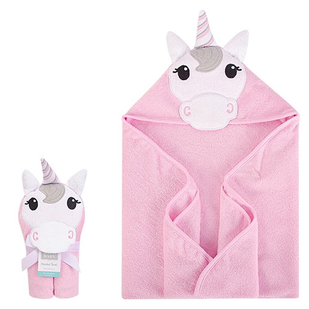 美國  luvable friends  100% 純棉嬰幼兒動物造型連帽浴巾/包巾_可愛獨角獸 (LF00353)