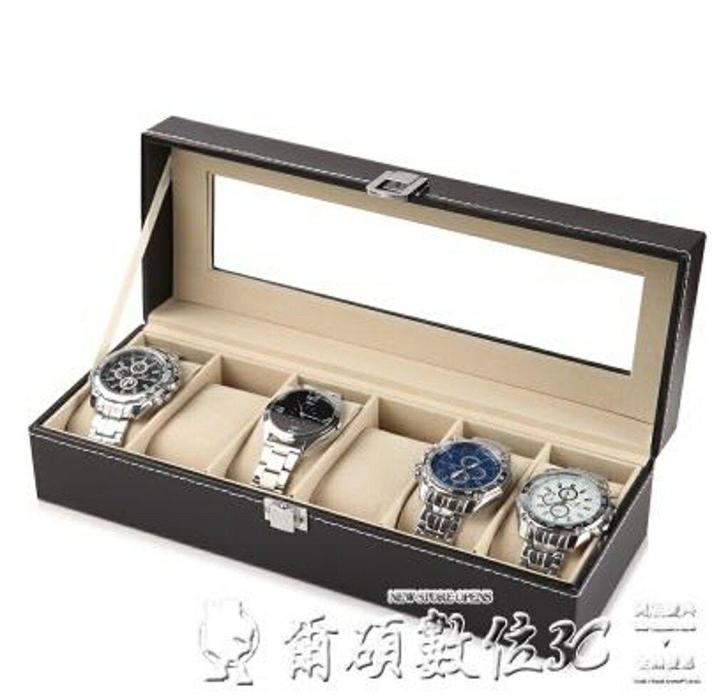 手錶盒開窗皮革首飾箱高檔手錶包裝整理盒擺地攤手鏈盤手錶架LX爾碩數位
