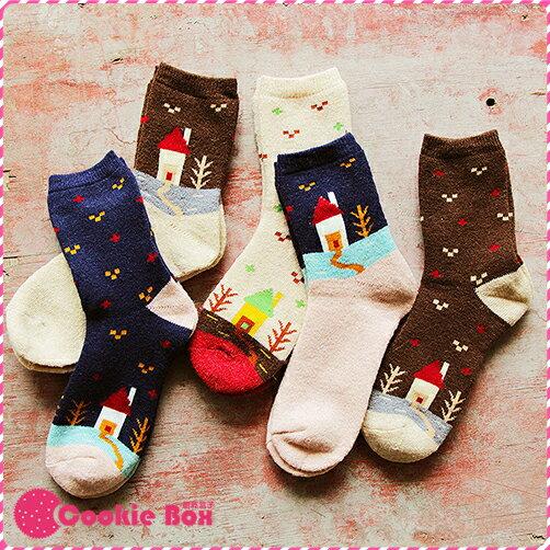 可愛房子襪子中筒襪情侶襪男女襪冬天家居保暖睡眠彈性柔軟舒適聖誕交換禮物*餅乾盒子*