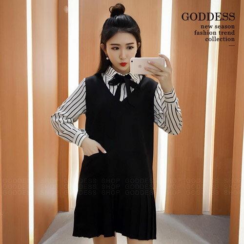 均一價390~嘉蒂斯洋裝 假兩件綁帶襯衫百摺連衣裙~090746~1色   ~  好康折扣