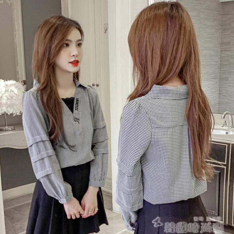 假兩件襯衫 格子襯衫女設計感小眾2021秋季新款韓版V領蕾絲拼接假兩件上衣潮1 愛尚優品 五折特惠