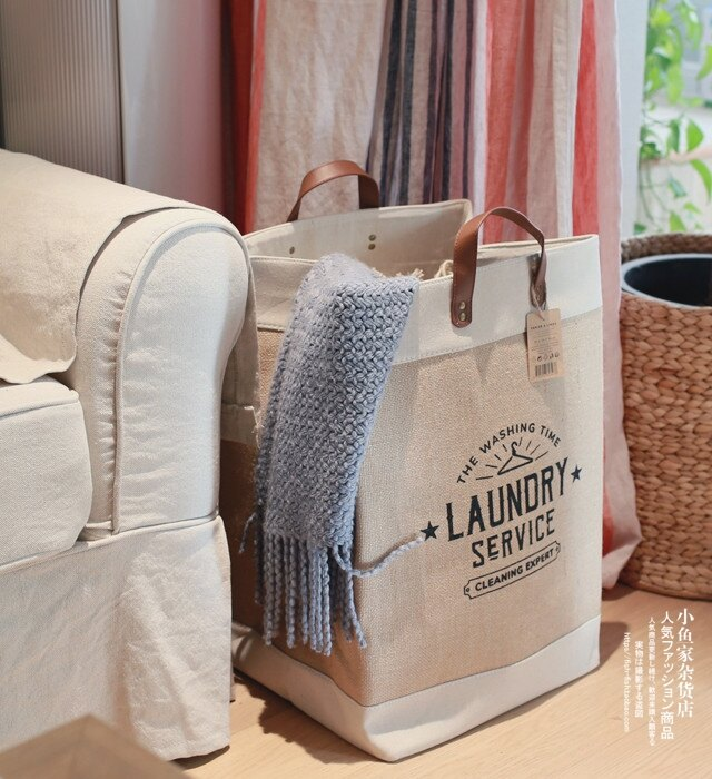 出口單臟衣服收納筐臟衣籃玩具雜物收納布藝麻棉提手筐 WJ 交換禮物